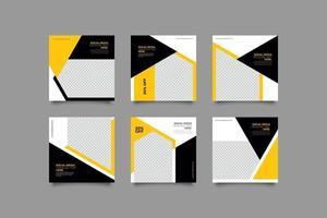 minimalistisk modern gul och svart sociala medier postmall vektor