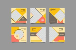 minimalistisches nacktes farbiges Social Media Post Template Bundle vektor