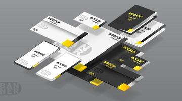 företagsidentitetsmalluppsättning. mockup för kontor. vektor illustration