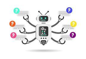 Roboter hält Sprechblasen flaches Design. Chat-Roboter isoliert auf weißem Hintergrund. Vektorillustration vektor