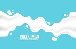 affisch färsk mjölk med stänk på en ljusblå bakgrund. platt minimalistisk stil. vektor illustration