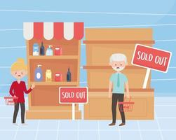kunder med tomma korgar och hyllor på marknaden