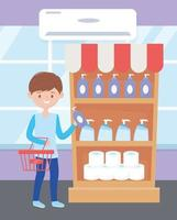 ung man shopping rengöringsprodukter