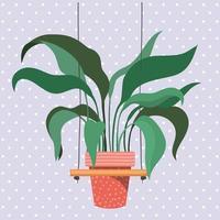 Zimmerpflanze in einem Makramee-Kleiderbügel vektor