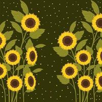 vackra solrosor trädgård scen vektor