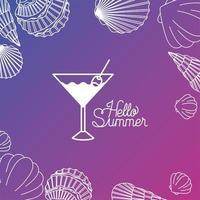 Hallo Sommer und Urlaub Silhouette Design vektor