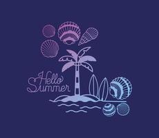 Hallo Sommer Design mit Muscheln vektor