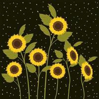 schöne Sonnenblumen Garten Szene Vektor