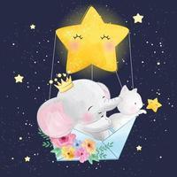niedlicher Elefant mit der Katze, die mit Stern fliegt vektor