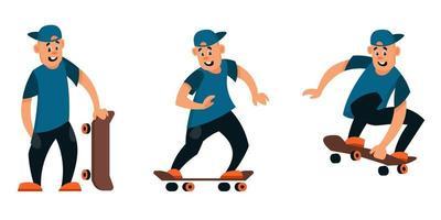 Skateboarder in verschiedenen Posen eingestellt vektor