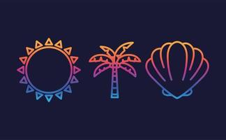 Hallo Sommer und Urlaub Icon Set vektor