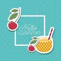 Hallo Sommer und Urlaub Aufkleber Design vektor