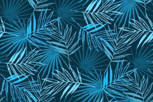 blaues tropisches nahtloses Muster mit Palmblättern. vektor