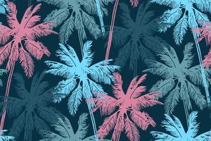 stilvolles nahtloses Sommermuster mit Palmen. vektor