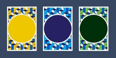 inbjudningskort geometrisk färg vit blå grön gul textur bakgrund och rutmönster vektor designmall