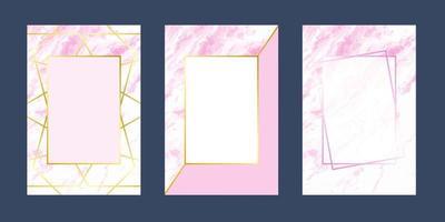 inbjudningskort rosa vit marmorlinje lyxstruktur för textmeddelande och geometrisk mall vektor