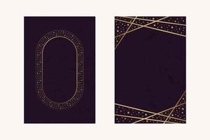 Einladungskarten Magenta Luxusblatt Confitti Gold Linie Rahmen mit Textur Vektor-Design vektor