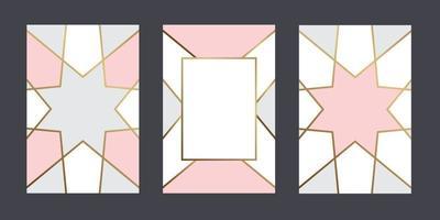 få kort geometrisk pastellfärgad bakgrund med guldlinje för textdesignvektordesign vektor