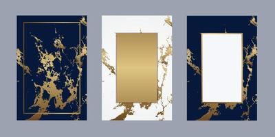 bröllopskort marmor lyxig guld bakgrund linje ram för textmeddelande vektor design