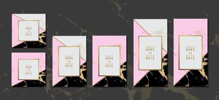 bröllop inbjudningskort svart rosa marmor textur bakgrundssamling med guld ram för textmeddelande vektor design