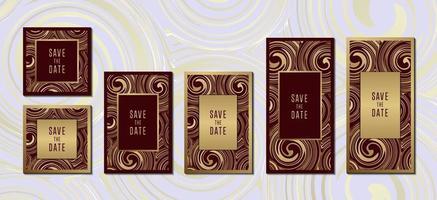 Luxus goldene Einladungskartensammlung mit Grenzvektorentwurfsschablone vektor