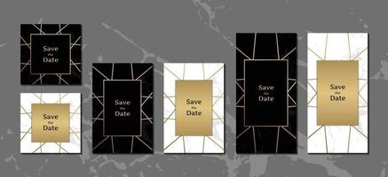 elegant bröllop inbjudningskort svart och vit marmor bakgrundssamling med gyllene geometriska ram vektorillustration vektor