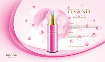 Luxus-Parfüm-Sprühblüte mit 3D-Verpackung und rosa Schwarzgrund-Blumenvektorillustration vektor