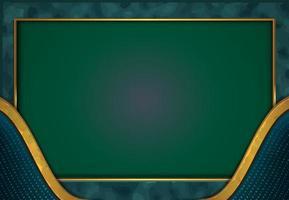Papierschnitt Luxus Gold Hintergrund mit blau grünen Metall Textur 3d abstrakten Stil vektor