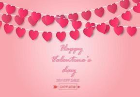 Valentinstag Grußkarte und Liebeskonzept mit Herzform auf rosa Hintergrund, Papierkunststil.