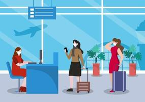 nya normala, vektorillustration människor i masker observerar social distansering på den inre flygplatsen, incheckningslinjen och köresan platt design vektor