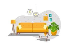 komfortables Wohnzimmer mit Sofa, komfortable Wohnelemente, gelbes Sofa mit Kissen, modernes Sofa zum Entspannen vektor