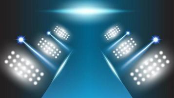 Stadionbühnenhalle mit abstraktem Hintergrund mit szenischen Lichtern runder futuristischer Technologie vektor