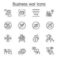 bojkott, affärskrig, sanktion ikonuppsättning i tunn linje stil vektor