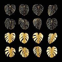 Monstera Deliciosa Pflanzenblatt Gold isoliert auf Hintergrund vektor