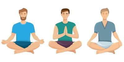 män gör yoga uppsättning