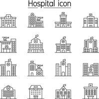 sjukhusbyggnad, medicinsk center ikonuppsättning i tunn linje stil vektor