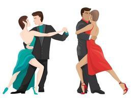 Paare tanzen Tango-Set vektor