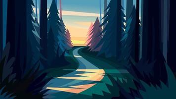 väg i skogen vid solnedgången. vektor