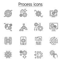 Verarbeitungssymbole im Stil einer dünnen Linie