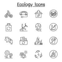 ekologi ikonuppsättning i tunn linje stil vektor