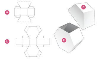 sexkantig presentförpackning och mall för utskuren lock vektor