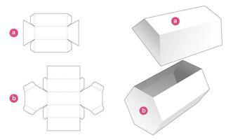 lång sexkantig presentförpackning och stansad mall för lock vektor