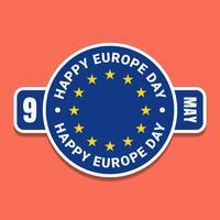 9 maj Europadagen blå etikett med flagga vektor