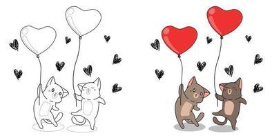 katter håller hjärta ballonger tecknad målarbok för barn vektor