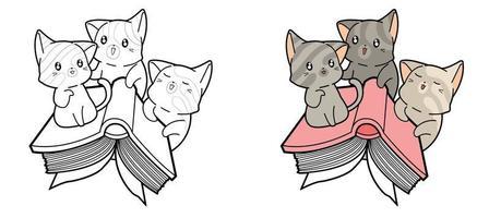 söta katter flyger med en bok målarbok för barn vektor