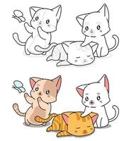 tre katter tecknade målarbok för barn