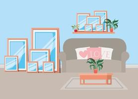 vackert vardagsrum hus scen vektor