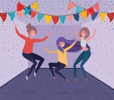 junge Mädchen tanzen im Raum vektor