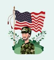 Soldat mit USA-Flagge im Feld vektor
