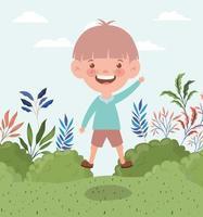 glücklicher kleiner Junge im Freien vektor